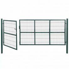 VID zöld acél kerti kerítéskapu póznákkal 350 x 140cm