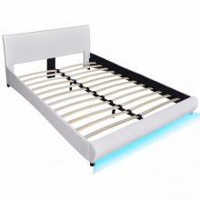 """PU bőr ágy 140x200 cm """"V15"""", LED világítással, fehér színben"""