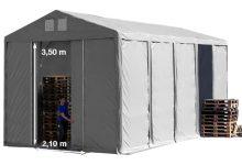 Vario raktársátor 5x10m - 3,6m oldalmagassággal-bejárat típusa: eltolható