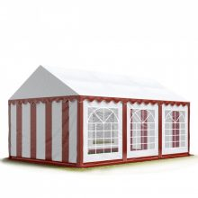 TP Professional deluxe 3x6m nehéz acélkonstrukciós rendezvénysátor erősített tetőszerkezettel piros-fehér