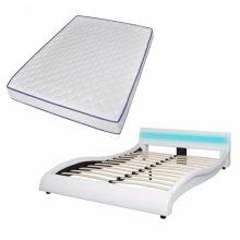 """PU bőr ágy 140x200 cm """"V20"""" memóriahabos matraccal, LED világítással, fehér színben"""