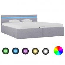 VID világosszürke szövet LED-es ágy hidraulikus tárolóval 160x200cm