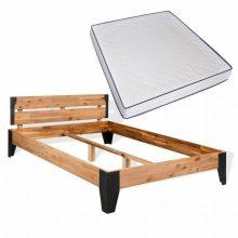VID Krevet od bagremovog drva i čelika s madracem 140 x 200 cm