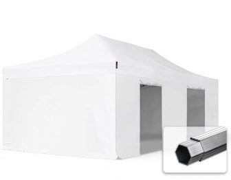 Professional összecsukható sátrak PROFESSIONAL 400g/m2- ponyvával, alumínium szerkezettel, 4 oldalfallal, ablak nélkül - 4x8m fehér