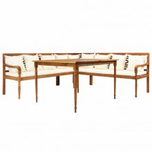 VID kültéri tömör akácfa sarokgarnitúra asztallal és párnákkal