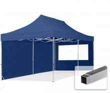 Professional összecsukható sátrak ECO 300 g/m2 ponyvával, alumínium szerkezettel, 2 oldalfallal - 3x6m sötétkék