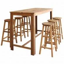 VID 7 részes tömör akácfa bárasztal és bárszék garnitúra