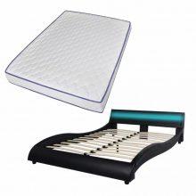 """PU bőr ágy 140x200 cm """"V20"""" memóriahabos matraccal, LED világítással, fekete színben"""