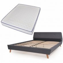 VID Kárpitozott ágy ágyráccsal, memóriahabos matraccal, 160x200 cm, sötétszürke színben