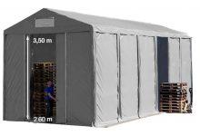 Vario raktársátor 6x12m - 3,6m oldalmagassággal-bejárat típusa: eltolható