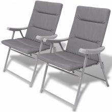 2 db összecsukható kerti szék párnával szürke színben
