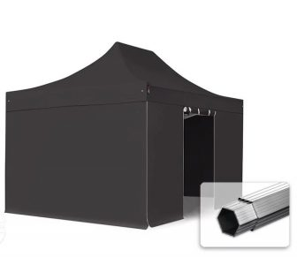 Professional összecsukható sátrak PROFESSIONAL 3x4,5m-400g/m2-alumínium szerkezettel-Fekete