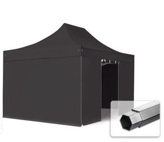 Professional összecsukható sátrak PROFESSIONAL 400g/m2 ponyvával, alumínium szerkezettel, 4 oldalfallal, ablak nélkül - 3x4,5m fekete