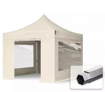 Professional összecsukható sátrak PROFESSIONAL 400g/m2 ponyvával, alumínium szerkezettel, 4 oldalfallal, panoráma ablakkal - 3x3m bézs