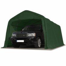 Ponyvagarázs/ sátorgarázs / tároló 3,3x6m -PVC 550g/nm zöld színben viharvédelmi szettel földhöz