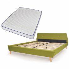 VID Kárpitozott ágy ágyráccsal, memóriahabos matraccal, 160x200 cm, zöld színben