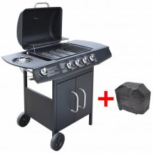 Gáz grillsütő 4 + 1 gázrózsával, ajándék takaróponyva, fekete színben