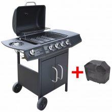 VID Gáz grillsütő 4 + 1 gázrózsával, ajándék takaróponyva, fekete színben