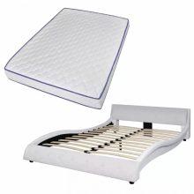 """PU bőr ágy 140x200 cm """"V20"""" memóriahabos matraccal, fehér színben"""