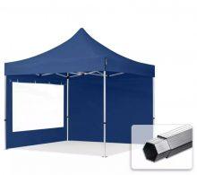 Professional összecsukható sátrak PROFESSIONAL 400g/m2 ponyvával, alumínium szerkezettel, 2 oldalfallal, panoráma ablakkal -  3x3m sötétkék