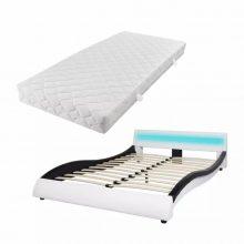 """VID PU bőr ágy 140x200 cm """"V20"""" matraccal, LED világítással, fehér-fekete színben"""