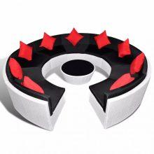 VID Kör alakú polyrattan ülőgarnitúra fehér színben piros párnákkal