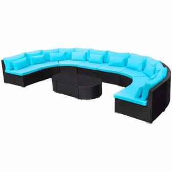 VID Polyrattan kerti kanapé szett trópusi kék színben