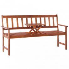 VID 3 személyes barna akácfa kerti pad asztallal