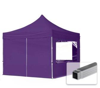 Professional összecsukható sátrak ECO 300 g/m2 ponyvával, alumínium szerkezettel, 4 oldalfallal - 3x3m lila