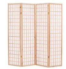 VID 4 paneles, természetes, japán stílusú paraván 160 x 170 cm
