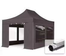 Professional összecsukható sátrak PROFESSIONAL 3x4,5m-400g/m2-alumínium szerkezettel-Sötétszürke