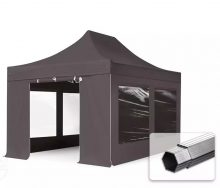 Professional összecsukható sátrak PROFESSIONAL 400g/m2 ponyvával, alumínium szerkezettel, 4 oldalfallal, panoráma ablakkal - 3x4,5m sötétszürke