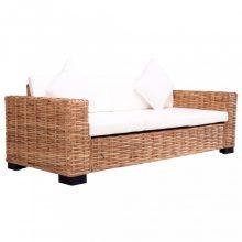 VID 3 személyes rattan kerti kanapé