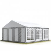 TP Professional deluxe 6x6m nehéz acélkonstrukciós rendezvénysátor erősített tetőszerkezettel szürke-fehér