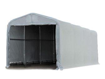 Ponyvagarázs/ sátorgarázs / tároló 4x16m-3,35m oldalmagasság, PVC 550g/nm kapuméret: 3,5x3,5m szürke színben