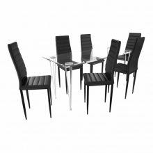 Étkező garnitúra 6 db bordázott székkel Fekete