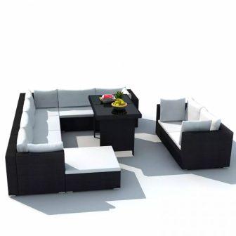 VID 28 részes polyrattan ülőgarnitúra szett fekete