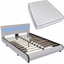 """PU bőr ágy 140x200 cm """"V11"""" memóriahabos matraccal, LED világítással, ágyneműtartóval, fehér színben"""
