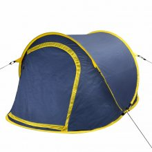 Két személyes pop up sátor sötétkék-sárga színben