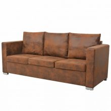VID 3 személyes barna kanapé antik bőrhatással