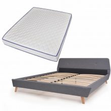 VID Kárpitozott ágy ágyráccsal, memóriahabos matraccal, 160x200 cm, világosszürke színben