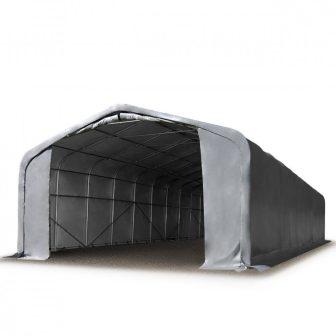 Ponyvagarázs/ sátorgarázs / tároló 6x12m-4m oldalmagasság, tűzálló PVC 720g/nm kapuméret: 4,1x4,0m szürke színben