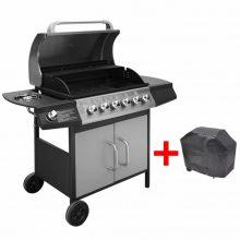 Gáz grillsütő 6+1 gázrózsával, ajándék takaróponyva, fekete-ezüst színben