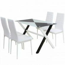 5 darabos műbőr étkező garnitúra készlet fehér színben