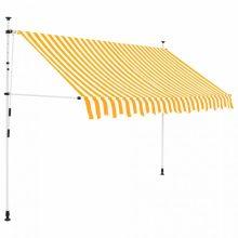 VID Manuálisan feltekerhető napellenző- 250 cm - sárga fehér csíkokkal
