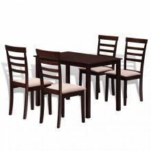 Meghosszabbítható tömör fa étkező garnitúra 4 székkel két színben