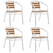 VID ezüst és barna alumínium és WPC kerti szék szett