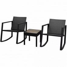 VID 3 darabos fekete polyrattan kültéri hintaszék és asztal