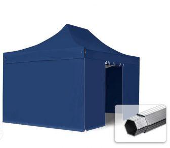 Professional összecsukható sátrak PROFESSIONAL 400g/m2 ponyvával, alumínium szerkezettel, 4 oldalfallal, ablak nélkül -  3x4,5m kék