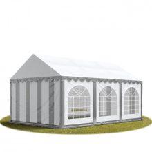 TP Professional deluxe 4x6m nehéz acélkonstrukciós rendezvénysátor erősített tetőszerkezettel fehér-szürke